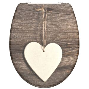 SCHÜTTE Duroplast Toilet Seat with Soft-Close WOOD HEART Printed