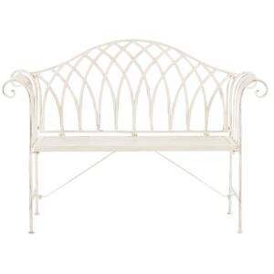 Outdoor Garden Bench White Metal 2 Seater 130 cm Flared Armrests Vintage Style Beliani