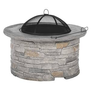 Fire Pit Heater Grey Black Mesh Cover Round Outdoor Beliani