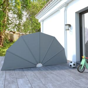 VidaXL Collapsible Terrace Side Awning Grey 160 cm