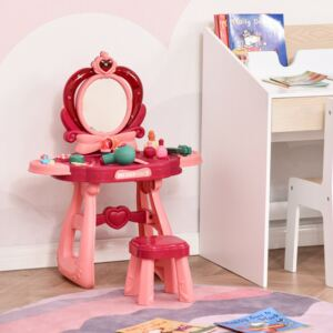 HOMCOM 36 Pcs Children Vanity Musical Dressing Table Kids Magic Glamour Princess Mirror Make Up Desk With Stool Beauty Kit Lights Toy for 3 Years Old