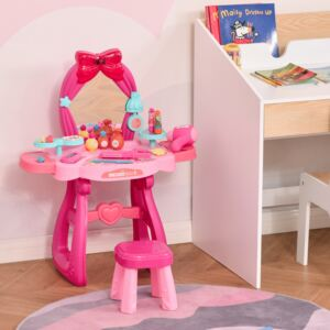 HOMCOM 36 Pcs Kids Vanity Musical Dressing Table Make Up Desk w/ Stool Beauty Kit Toy Children Glamour Princess Magic Mirror Lights for 3 Years Old