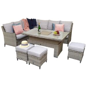 Edawa Corner Dining With Lift Table 3 Wicker Special Grey