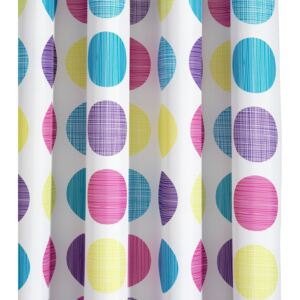 Croydex Patterned Textile Shower Curtain Textured Dots White