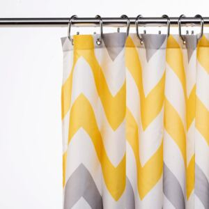 Croydex Polyester Patterned Textile Shower Curtain Yellow & Grey One