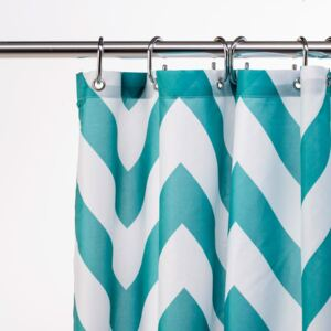 Croydex Polyester Patterned Textile Shower Curtain Aqua One