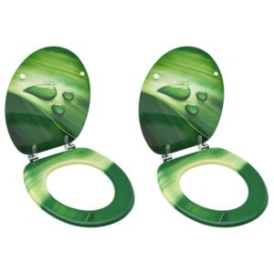 WC Toilet Seats with Lid 2 pcs MDF Green Water Drop Design