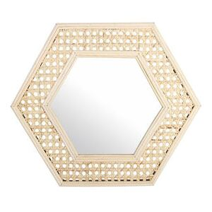 Cannage hexagonale Wall mirror - / 37 x 33 cm by & klevering Beige/Natural wood