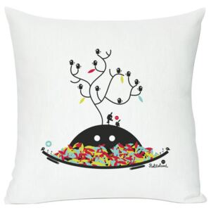 Autumn wishes Cushion - Screen printed cushion made of linen & cotton by Domestic White/Multicoloured/Black