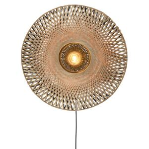 Kalimantan Large Wall light with plug - / Bamboo - Ø 87 cm by GOOD&MOJO Beige/Natural wood