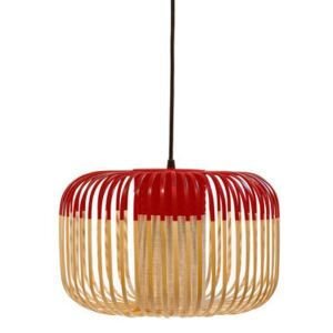 Bamboo Light S Pendant - H 23 x Ø 35 cm by Forestier Red/Natural wood