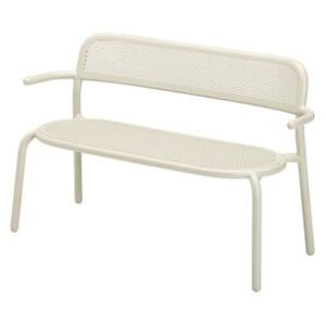Toní Bankski Bench with backrest - / L 127 cm - Perforated aluminium by Fatboy Beige