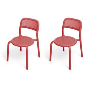 Toní Stacking chair - / Set of 2 - Perforated aluminium by Fatboy Red
