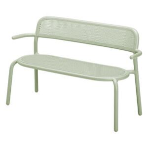 Toní Bankski Bench with backrest - / L 127 cm - Perforated aluminium by Fatboy Green