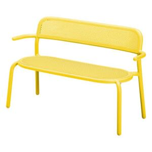 Toní Bankski Bench with backrest - / L 127 cm - Perforated aluminium by Fatboy Yellow