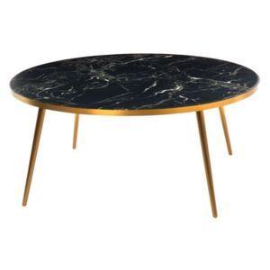 Coffee table - / Ø 80 x H 35 - Marble look by Pols Potten Black
