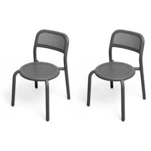 Toní Stacking chair - / Set of 2 - Perforated aluminium by Fatboy Black