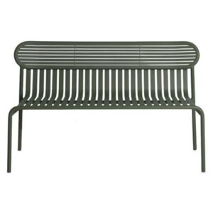Week-End Bench with backrest - / Aluminium - L 121 cm by Petite Friture Green