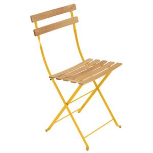 Bistro Folding chair - Metal & wood by Fermob Yellow