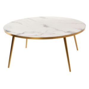 Coffee table - / Ø 80 x H 35 - Marble look by Pols Potten White