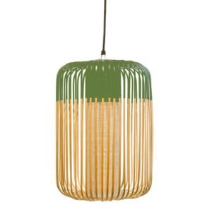 Bamboo Light L Pendant - H 50 x Ø 35 cm by Forestier Green/Natural wood
