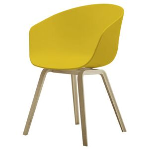 About a chair AAC22 Armchair - Plastic shell & wood legs by Hay Yellow