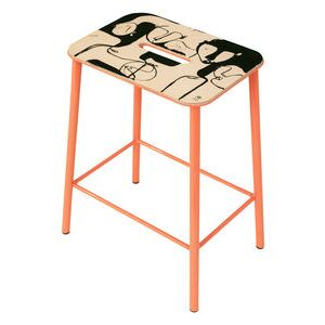Adam Cuir by Anna Mörner Stool - / H 50 cm - Limited, numbered edition - 20 years of MID by Frama Pink