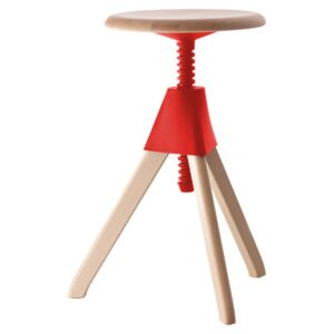 Jerry Stool - H 50/66 cm by Magis Red/Natural wood