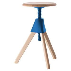 Jerry Stool - H 50/66 cm by Magis Blue/Natural wood