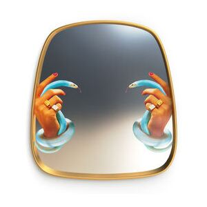 Toiletpaper Mirror - / Hands & snakes - 54 x 59 cm by Seletti Multicoloured/Gold/Mirror