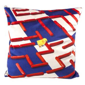 Toiletpaper Cushion - / Labyrinthe - 50 x 50 cm by Seletti White/Blue/Red/Multicoloured