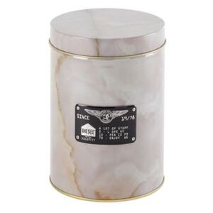 Alumarble Round Box - / Marble effect metal by Diesel living with Seletti Pink/Beige