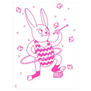 Bunny Poster - Glow in the dark - 30 x 40 cm by OMY Design & Play Pink