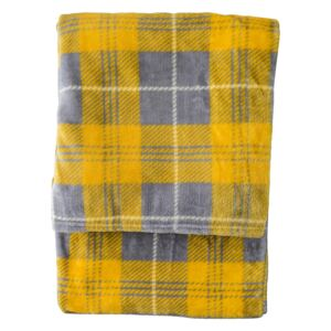 Jericho Checked Flannel Throw in Silver and Mustard
