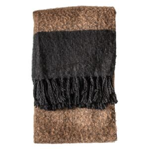 Austell Faux Mohair Throw in Black and Beige