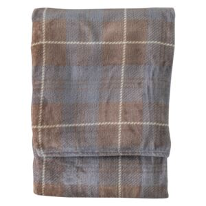 Jericho Checked Flannel Throw in Silver and Beige
