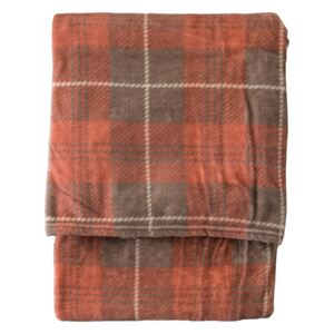 Jericho Checked Flannel Throw in Pink and Beige