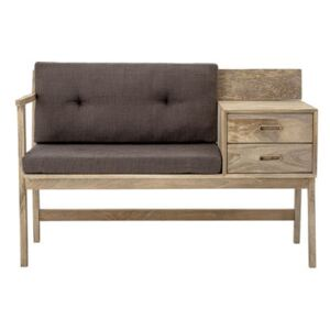 Bench - / Cushions included - 2 drawers by Bloomingville Grey/Natural wood