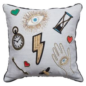 Bijoux Scatter Cushion - / 46 x 46 cm - Linen & hand-embroidered beads by Jonathan Adler Multicoloured
