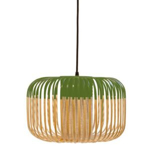 Bamboo Light S Pendant - H 23 x Ø 35 cm by Forestier Green/Natural wood