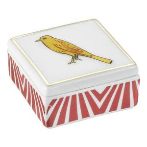 Bel Paese - Uccellino Box - / Porcelain - 6 x 6 cm by Bitossi Home Yellow/Red