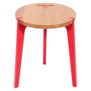 Canne Stool by La Corbeille Red/Natural wood
