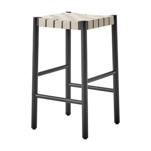 Betty TK7 High stool - / H 60 cm - Hand-woven linen straps by &tradition Black/Beige
