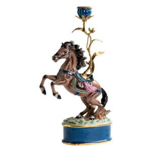 Cheval Candle stick - / Porcelain & brass H 41 cm by & klevering Multicoloured