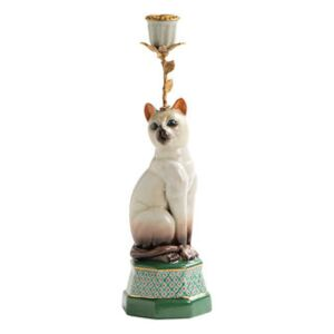 Siamois Candle stick - / Porcelain & brass H 31.5 cm by & klevering Multicoloured