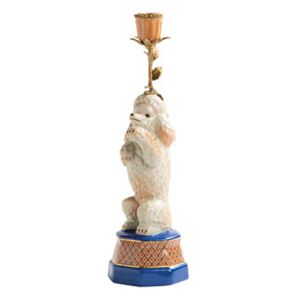 Caniche Candle stick - / Porcelain & brass H 31.5 cm by & klevering Multicoloured