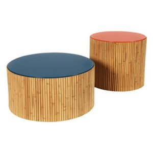 Riviera Duo Coffee table - / Set of 2 - Ø 60 & Ø 45 cm by Maison Sarah Lavoine Blue/Red