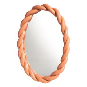 Braid Wall mirror - / Oval - Polyresin / L 26 x H 35 cm by & klevering Pink