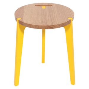 Canne Stool by La Corbeille Yellow/Natural wood