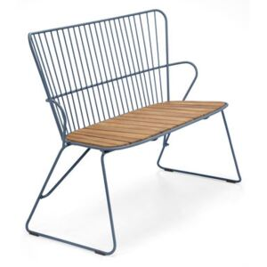 Paon Bench - / L 116 cm - Metal & bamboo by Houe Blue/Natural wood